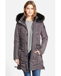 Laundry by Shelli Segal | Gray Ruched Parka With Detachable Faux Fur Trim Hood & Liner | Lyst