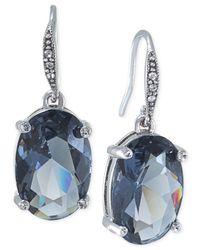 Carolee | Blue Silver-tone Oval Drop Earrings | Lyst
