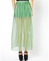 Traffic People - Green Anchors and Stripes Silk Maxi Skirt - Lyst