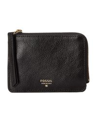 Fossil | Black Sydney Leather Double Accordion Wallet | Lyst