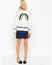 ASOS - Natural Christmas Jumper With Love Penguins In Aid Of Foundation - Lyst