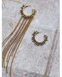 Free People | Metallic Alibi Womens Asymmetric Ray Hoops | Lyst