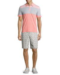 Original Penguin - Pink Striped Colorblock Polo Shirt for Men - Lyst