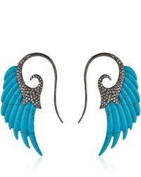 Noor Fares | Blue Turquoise Wing Earrings | Lyst
