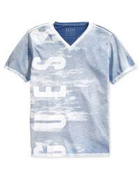 Guess | Blue Men's Basic Washed Logo Shirt for Men | Lyst