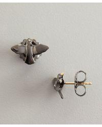 Elizabeth and James - Metallic Rhodium Meadow Lark White Sapphire Bird Stud Earrings - Lyst