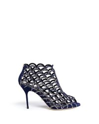 Sergio Rossi - Blue 'Mermaid' Strass Suede Caged Booties - Lyst