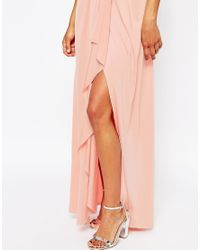 ASOS - Wedding One Shoulder Sexy Slinky Maxi Dress - Orange - Lyst