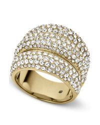 Michael Kors | Metallic Goldtone Crystal Pave Dome Ring | Lyst