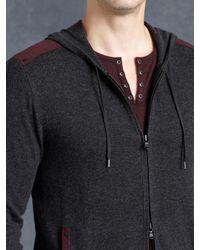 John Varvatos - Black Cotton Zip Front Hoodie for Men - Lyst