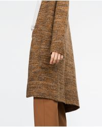 Zara | Brown Long Cardigan | Lyst