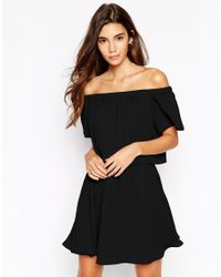 ASOS - Gypsy Off Shoulder Dress With Short Sleeves - Black - Lyst