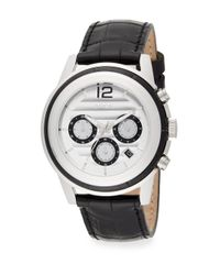 Breil - Black Stainless Steel & Embossed Leather Inset Chronograph Watch - Lyst