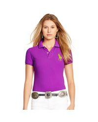 Polo Ralph Lauren - Purple Skinny-fit Big Pony Polo Shirt - Lyst