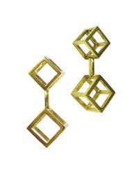 Stephanie Bates | Metallic Gold Double Cube Drop Earrings | Lyst
