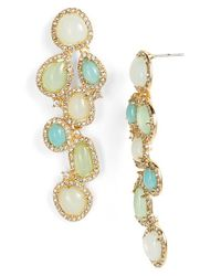 Lauren by Ralph Lauren | Green Stone Cluster Linear Earrings | Lyst