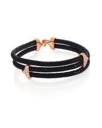 Stinghd | Metallic Diamond, 18k Rose Gold & Stingray Triangle Wrap Bracelet for Men | Lyst