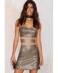 Nasty Gal - Metallic Venetian Jacquard Mini Skirt - Lyst