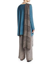 Eskandar - Gray Hand-knotted Striped Linen Scarf - Lyst