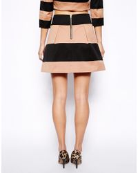 Oasis - Orange Stripe Skater Skirt - Lyst