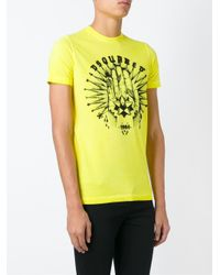 DSquared² - Yellow Logo T-shirt for Men - Lyst
