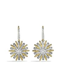 David Yurman - Metallic Starburst Drop Earrings with Diamonds in Gold - Lyst