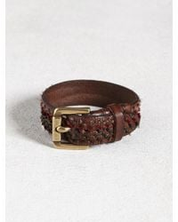 John Varvatos - Brown Leather Cuff With Hand-Knotted Detail for Men - Lyst