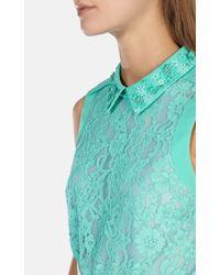 Karen Millen | Blue Beaded Collar Lace Top | Lyst