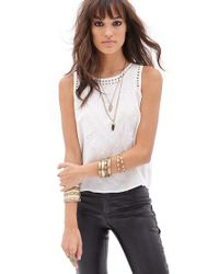 Forever 21 - White Floral Embroidered Sleeveless Top You've Been Added To The Waitlist - Lyst