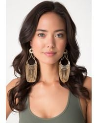 Bebe - Metallic Half Moon Chain Earrings - Lyst