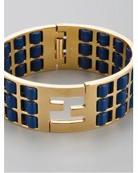 Fendi - Blue Woven Leather Brass Cuff - Lyst