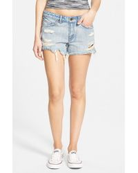 Volcom | Blue Distressed Denim Shorts | Lyst