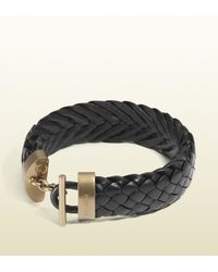 Gucci | Black Woven Leather Bracelet for Men | Lyst
