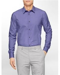 Calvin Klein | Blue White Label Classic Fit Ombre Check Non-iron Cool Tech Shirt for Men | Lyst