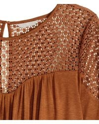 H&M - Brown + Top With Lace - Lyst