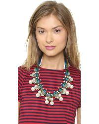 Tory Burch - Green Insley Necklace - Stripe Multi/Antique Bronze - Lyst