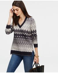Ann Taylor | Natural Fairisle Tunic Sweater | Lyst