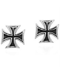 Aeravida | Black Hollow Maltese Iron Cross Stud .925 Silver Earrings | Lyst