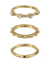 Sam Edelman | Metallic Stone Street Three-piece Stacked Midi Rings | Lyst
