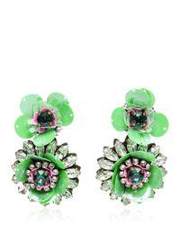 Shourouk | Green Flower Earrings | Lyst