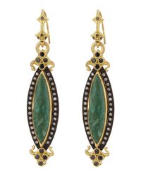 Armenta | Green Chrysocolla & Diamond Elongated Marquise Earrings | Lyst