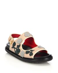 Marni - Multicolor Floral-paneled Leather Sandals - Lyst