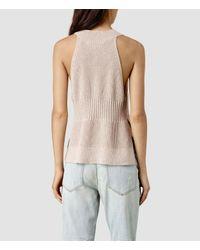 AllSaints | Natural Manson Cropped Vest | Lyst