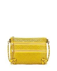 Elliott Lucca - Yellow Messina Three-Zip Leather Crossbody Bag - Lyst
