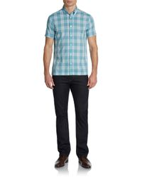 Ben Sherman - Blue Shortsleeve Plaid Buttondown Collar Slim Sportshirt for Men - Lyst