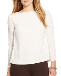Lauren by Ralph Lauren | White Plus Crepe Three-quarter Sleeved Top | Lyst
