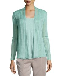 Eileen Fisher | Green Ribbed Delave Linen Cardigan | Lyst