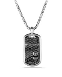 David Yurman - Tag Necklace Pavé Black Diamonds - Lyst
