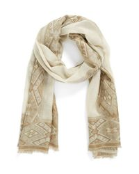 Hinge | Green Diamond Jacquard Border Scarf | Lyst