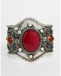 ASOS | Red Traveller Stone Cuff Bracelet | Lyst